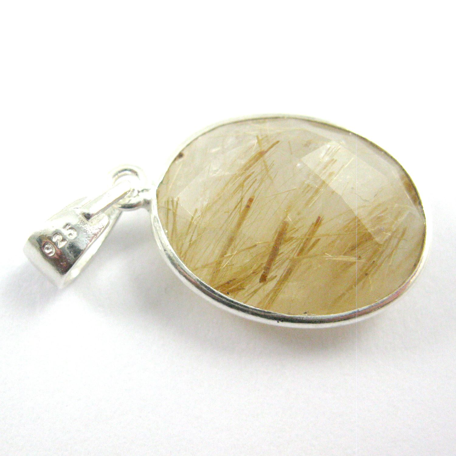 Bezel Gemstone Pendant with Bail - Sterling Silver Oval Gem Pendant - Ready for Necklace - 28mm - Gold Rutilated Quartz