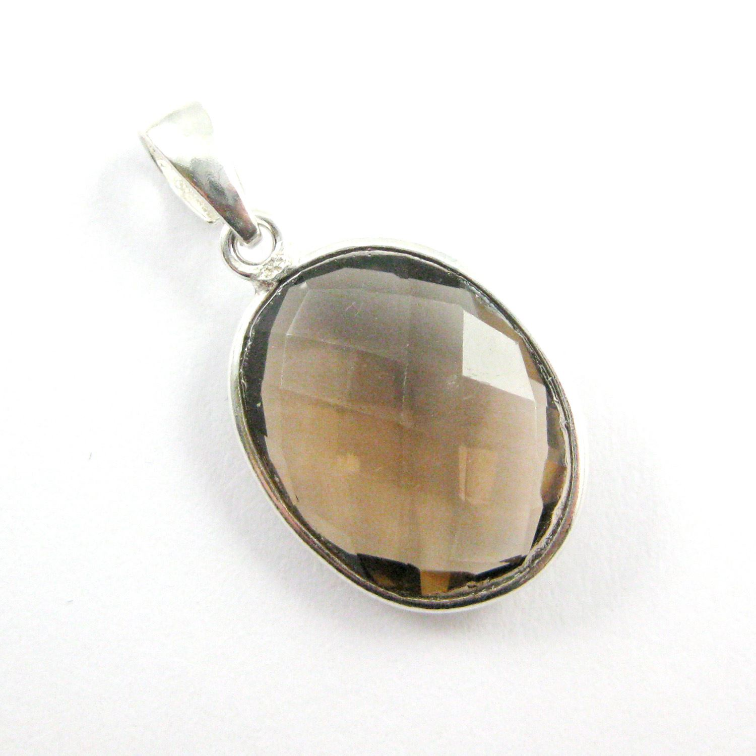 Bezel Gemstone Pendant with Bail - Sterling Silver Oval Gem Pendant - Ready for Necklace - 28mm - Smokey Quartz