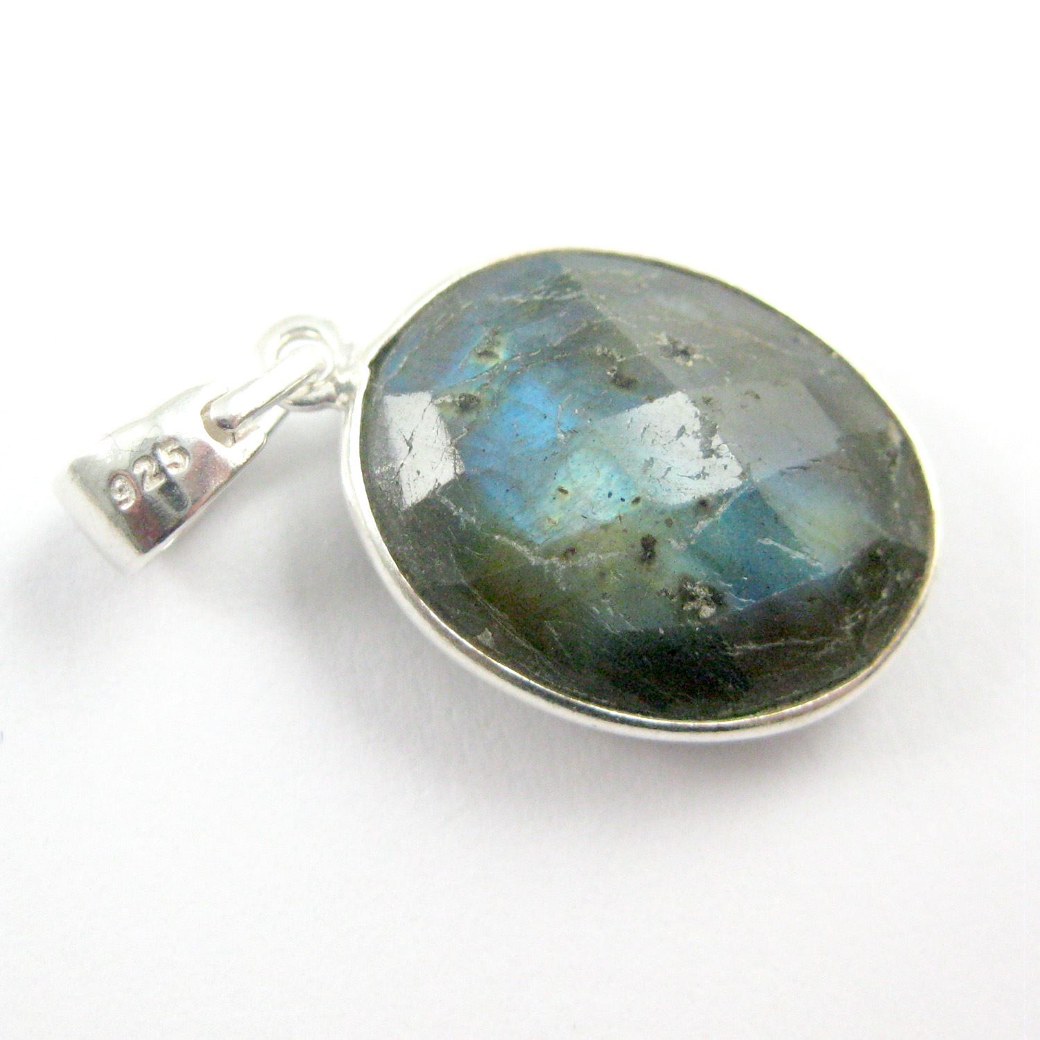 Bezel Gemstone Pendant with Bail - Sterling Silver Oval Gem Pendant - Ready for Necklace - 28mm - Labradorite