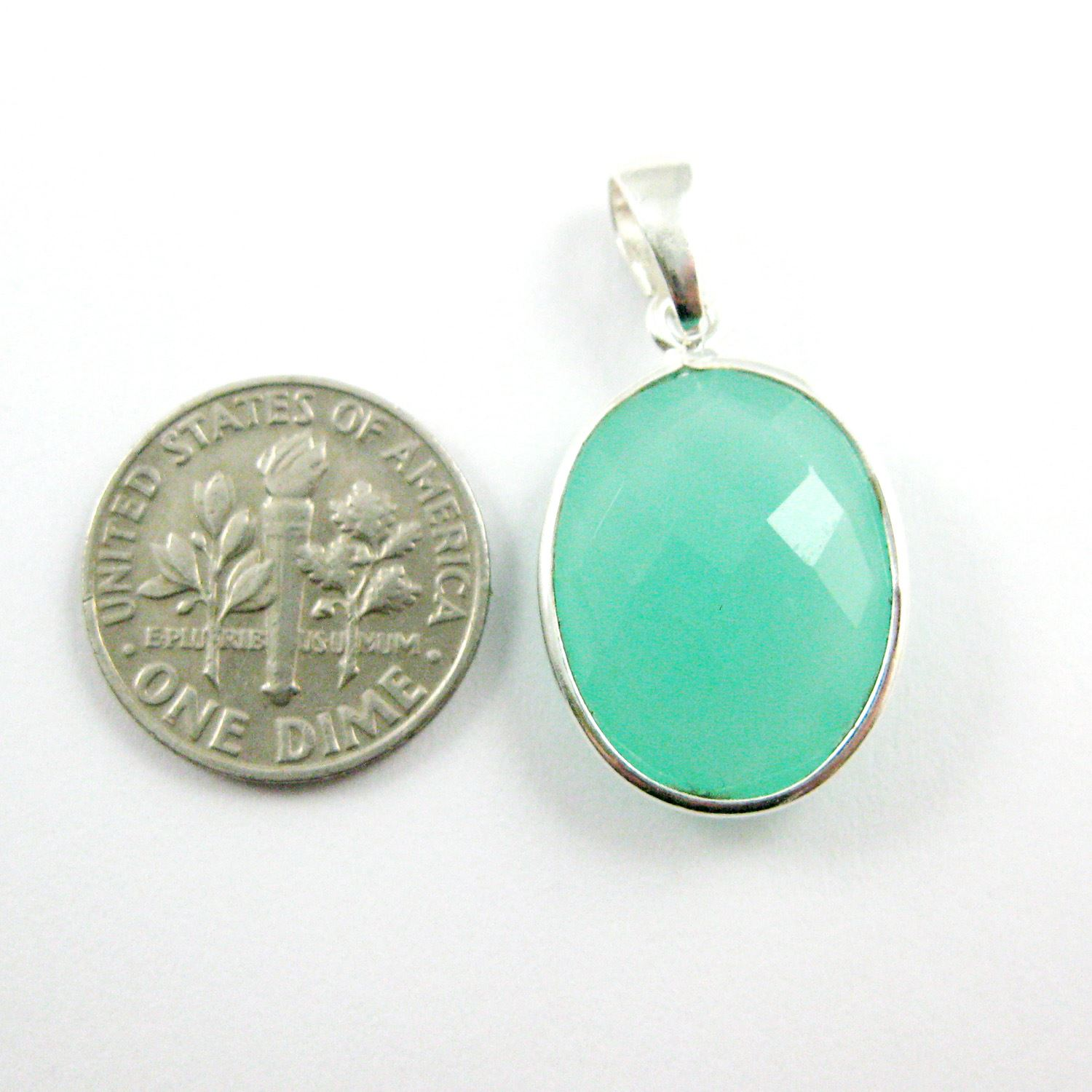 Bezel Gemstone Pendant with Bail - Sterling Silver Oval Gem Pendant - Ready for Necklace - 28mm - Peru Chalcedony