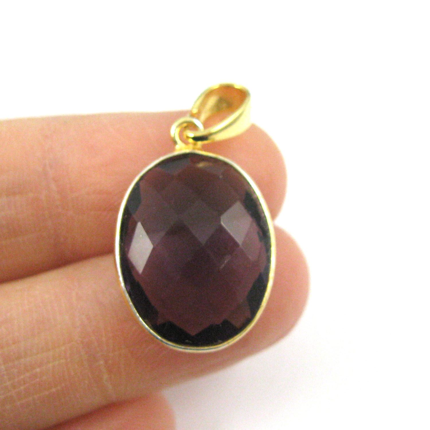Bezel Gemstone Pendant with Bail - Gold plated Sterling Silver Oval Gem Pendant - Ready for Necklace - 28mm - Amethyst Quartz