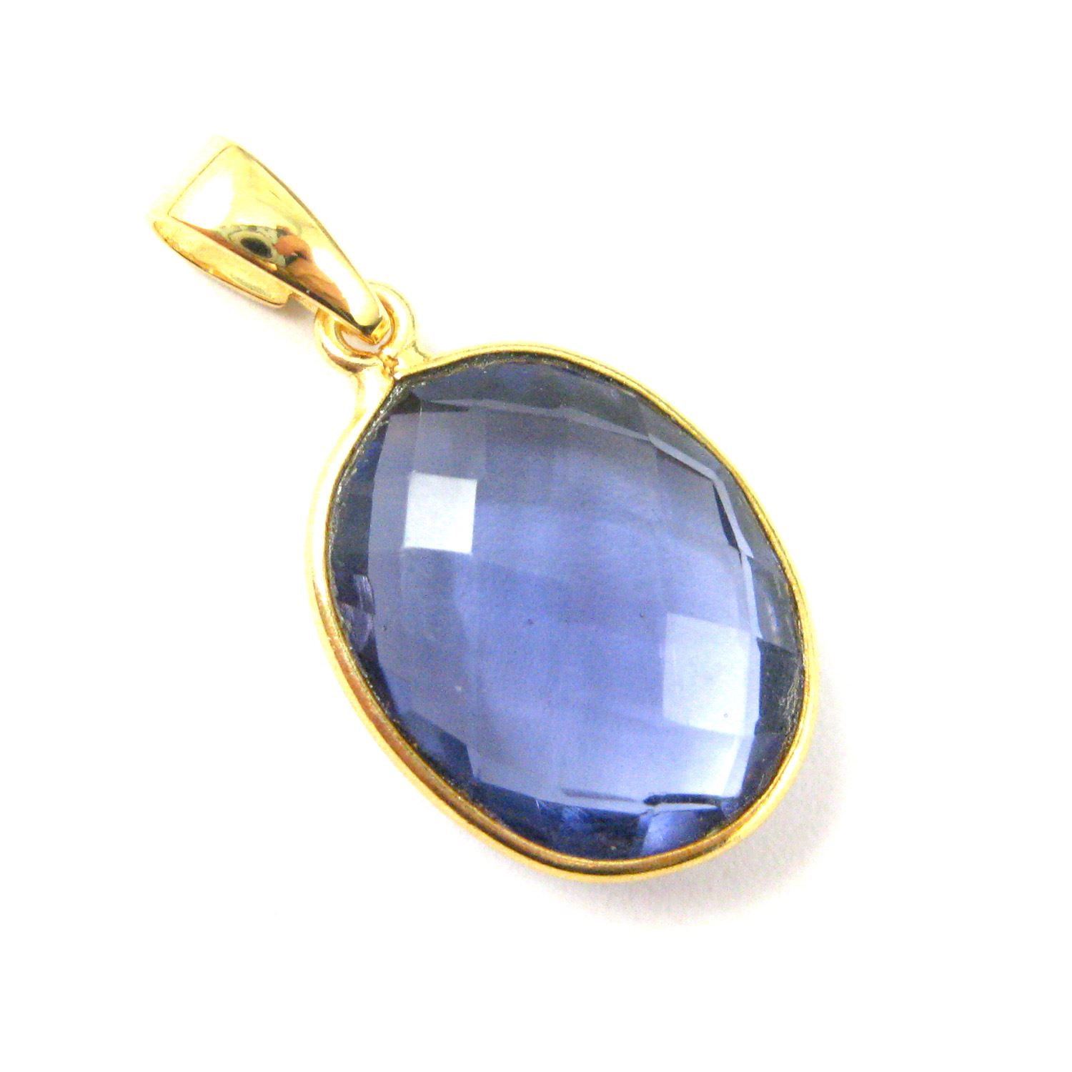 Bezel Gemstone Pendant with Bail - Gold plated Sterling Silver Oval Gem Pendant - Ready for Necklace - 28mm - Iolite Quartz