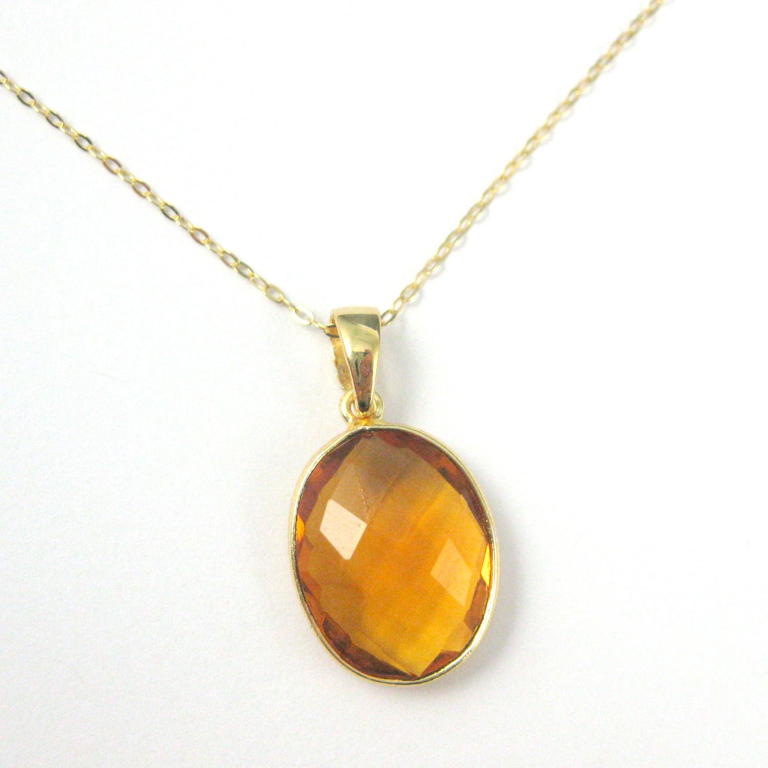 Bezel Gemstone Pendant with Bail - Gold plated Sterling Silver Oval Gem Pendant - Ready for Necklace - 28mm - Citrine Quartz