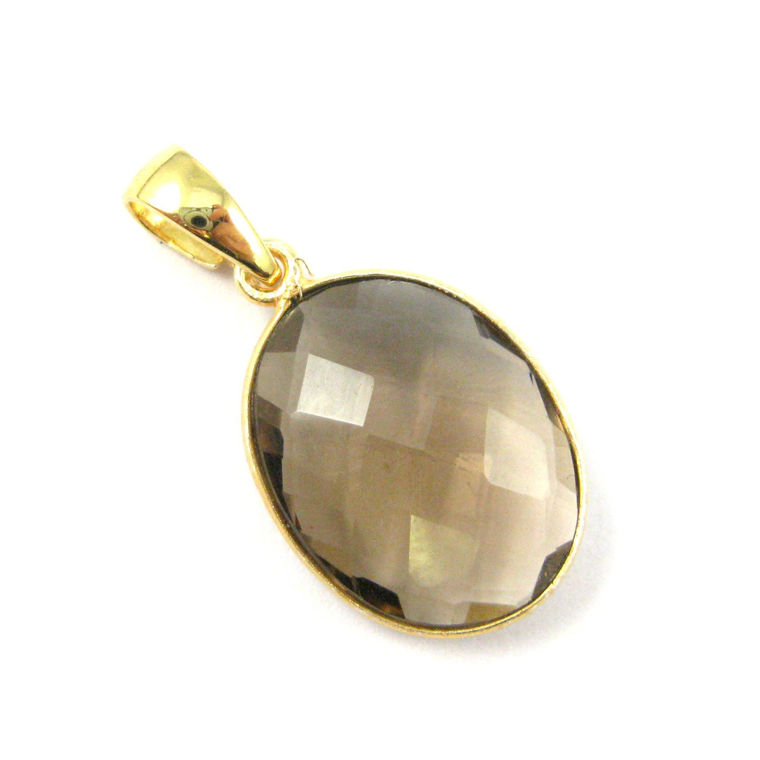 Bezel Gemstone Pendant with Bail - Gold plated Sterling Silver Oval Gem Pendant - Ready for Necklace - 28mm - Smokey Quartz