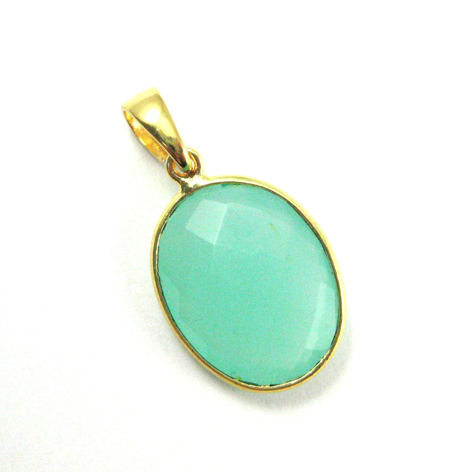 Bezel Gemstone Pendant with Bail - Gold plated Sterling Silver Oval Gem Pendant - Ready for Necklace - 28mm - Peru Chalcedony