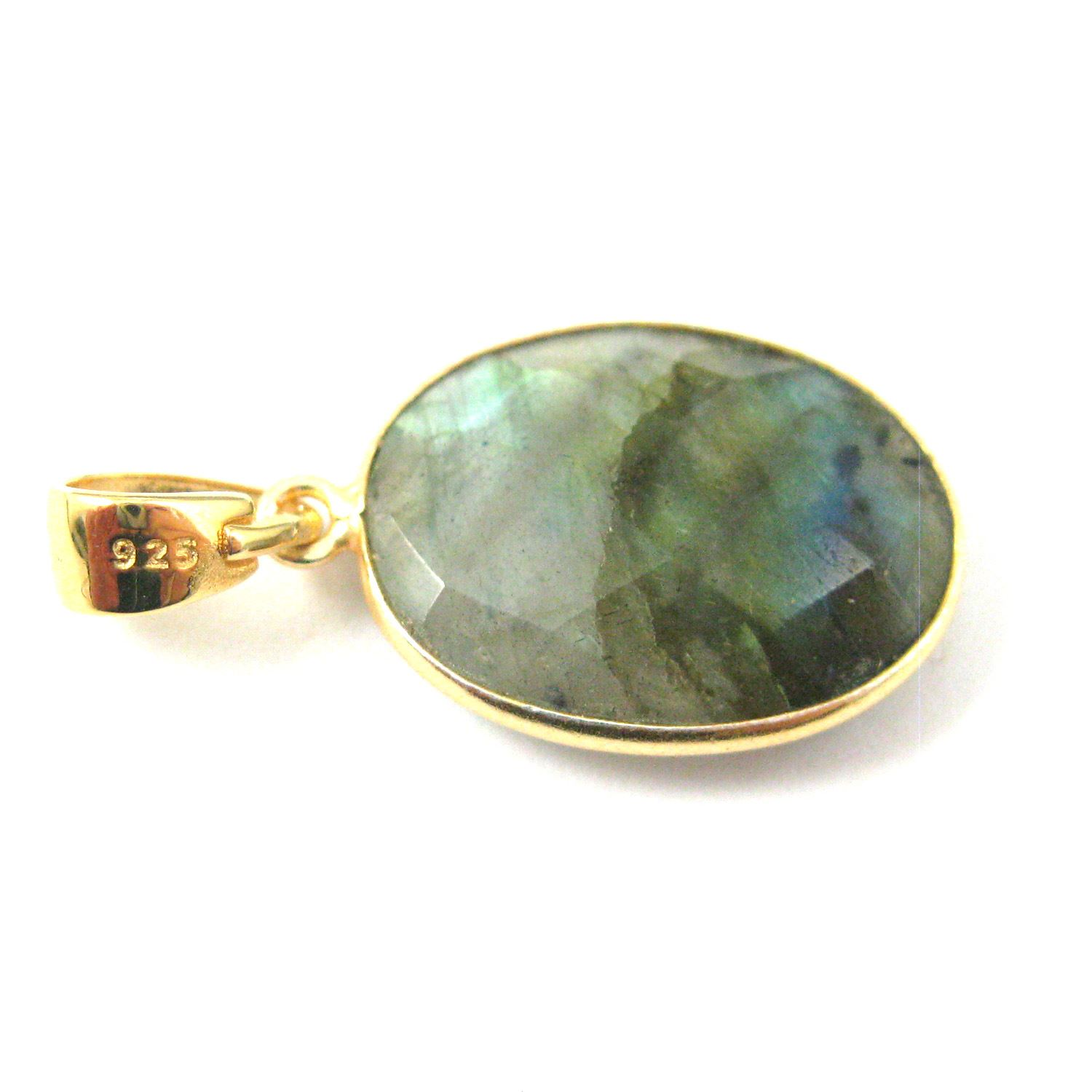 Bezel Gemstone Pendant with Bail - Gold plated Sterling Silver Oval Gem Pendant - Ready for Necklace - 28mm - Labradorite