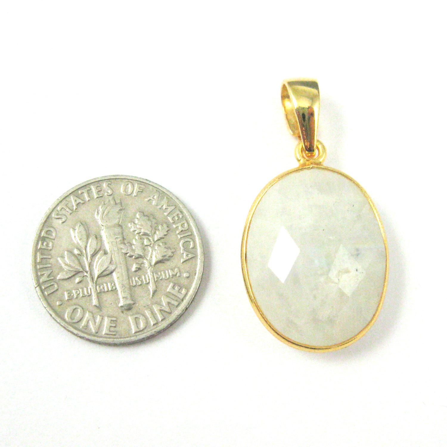 Bezel Gemstone Pendant with Bail - Gold plated Sterling Silver Oval Gem Pendant - Ready for Necklace - 28mm - Moonstone
