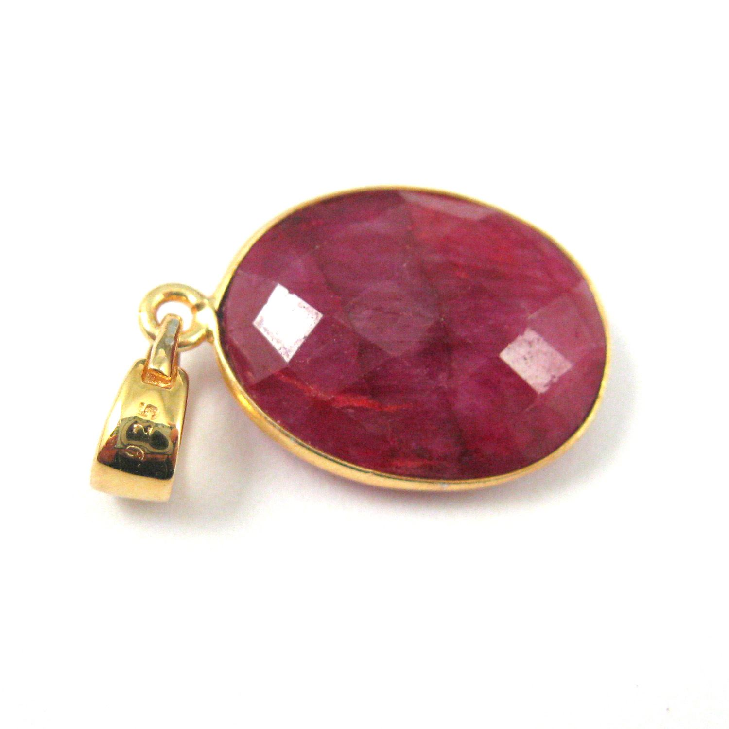 Bezel Gemstone Pendant with Bail - Gold plated Sterling Silver Oval Gem Pendant - Ready for Necklace - 28mm - Ruby Dyed