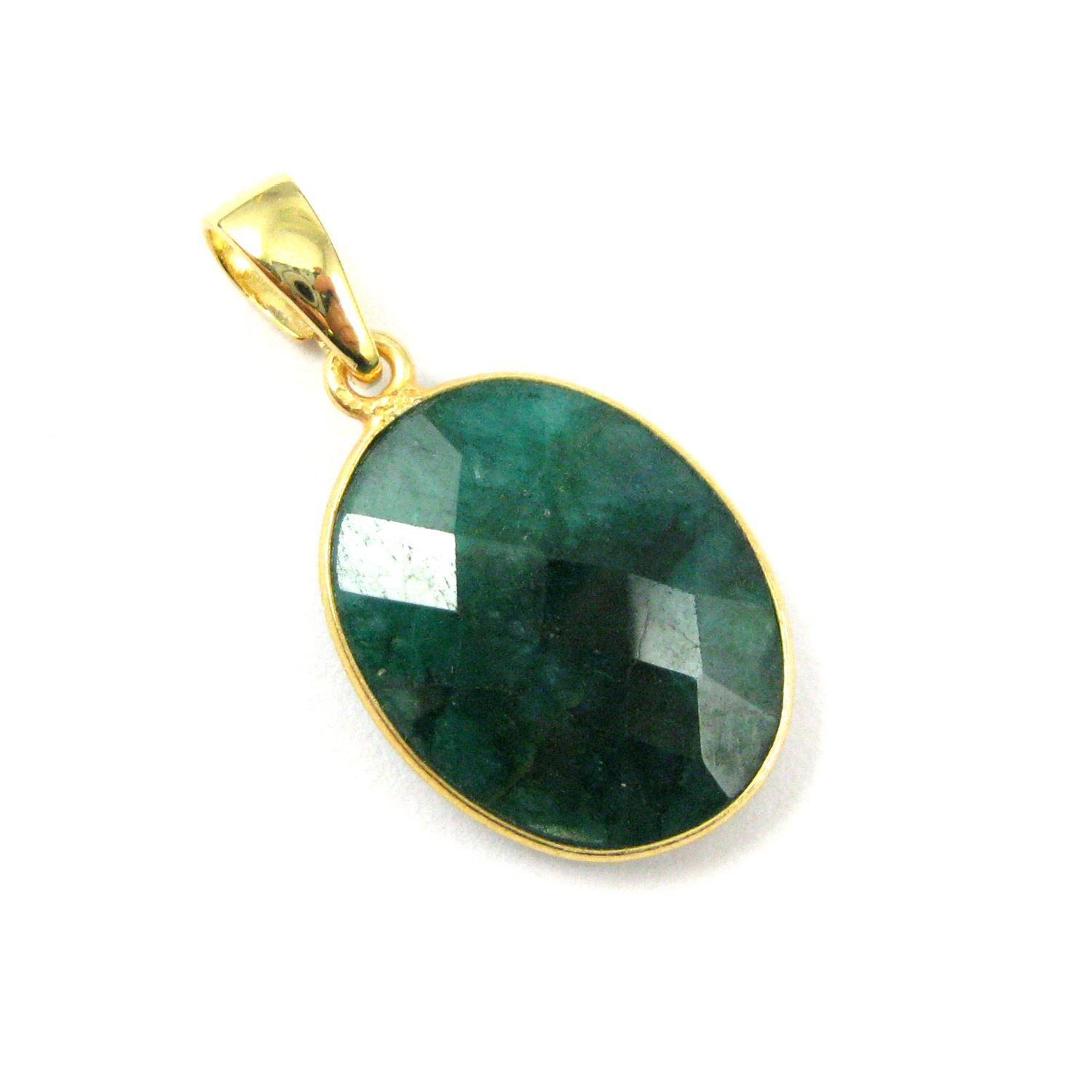 Bezel Gemstone Pendant with Bail - Gold plated Sterling Silver Oval Gem Pendant - Ready for Necklace - 28mm - Emerald Dyed