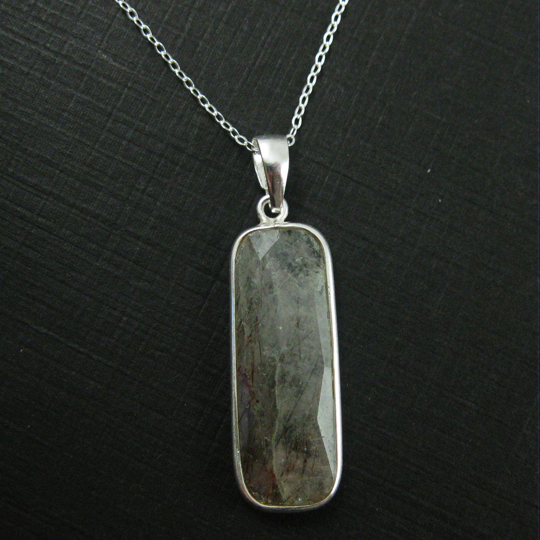 Bezel Gemstone Pendant with Bail - Sterling Silver Rectangle Gem Pendant - Ready for Necklace - 40mm - Black Rutilated Quartz