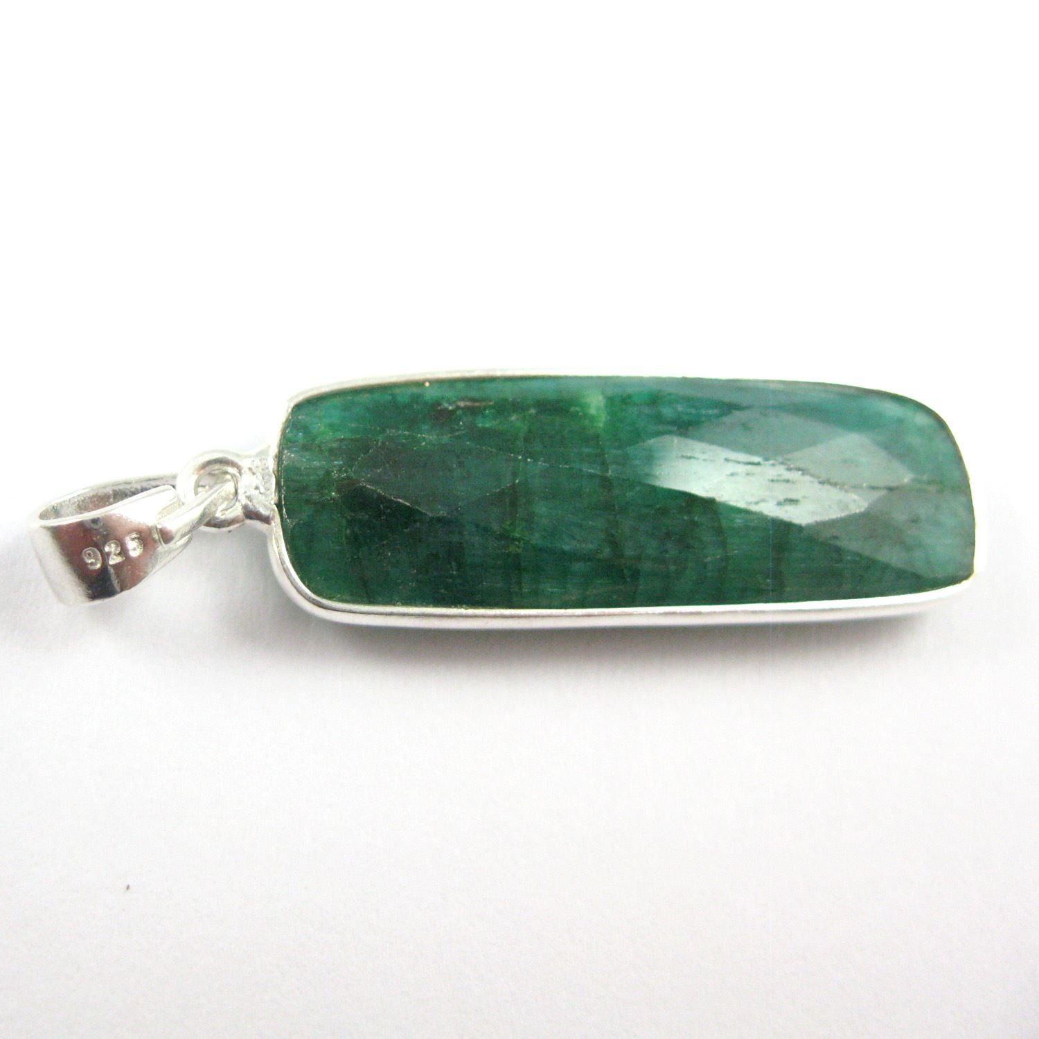Bezel Gemstone Pendant with Bail - Sterling Silver Rectangle Gem Pendant - Ready for Necklace - 40mm - Emerald Dyed