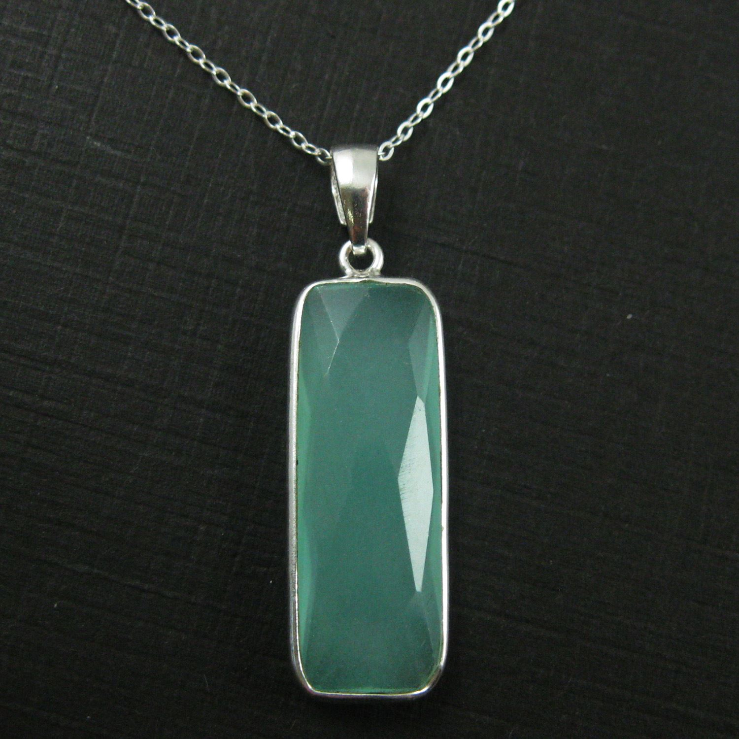 Bezel Gemstone Pendant with Bail - Sterling Silver Rectangle Gem Pendant - Ready for Necklace - 40mm - Peru Chalcedony