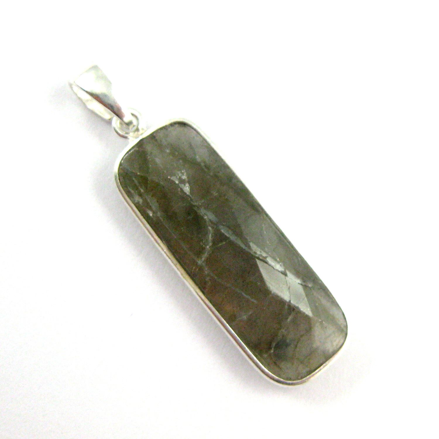 Bezel Gemstone Pendant with Bail - Sterling Silver Rectangle Gem Pendant - Ready for Necklace - 40mm - Labradorite