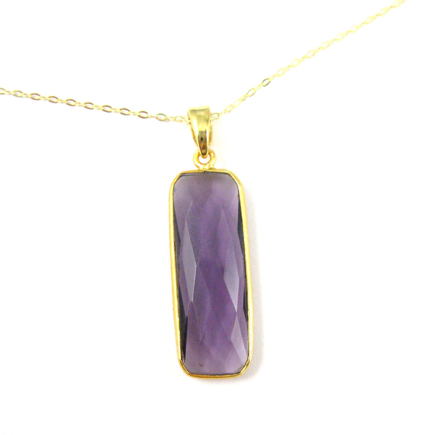 Bezel Gemstone Pendant with Bail - Gold plated Sterling Silver Rectangle Gem Pendant - Ready for Necklace - 40mm - Amethyst Quartz
