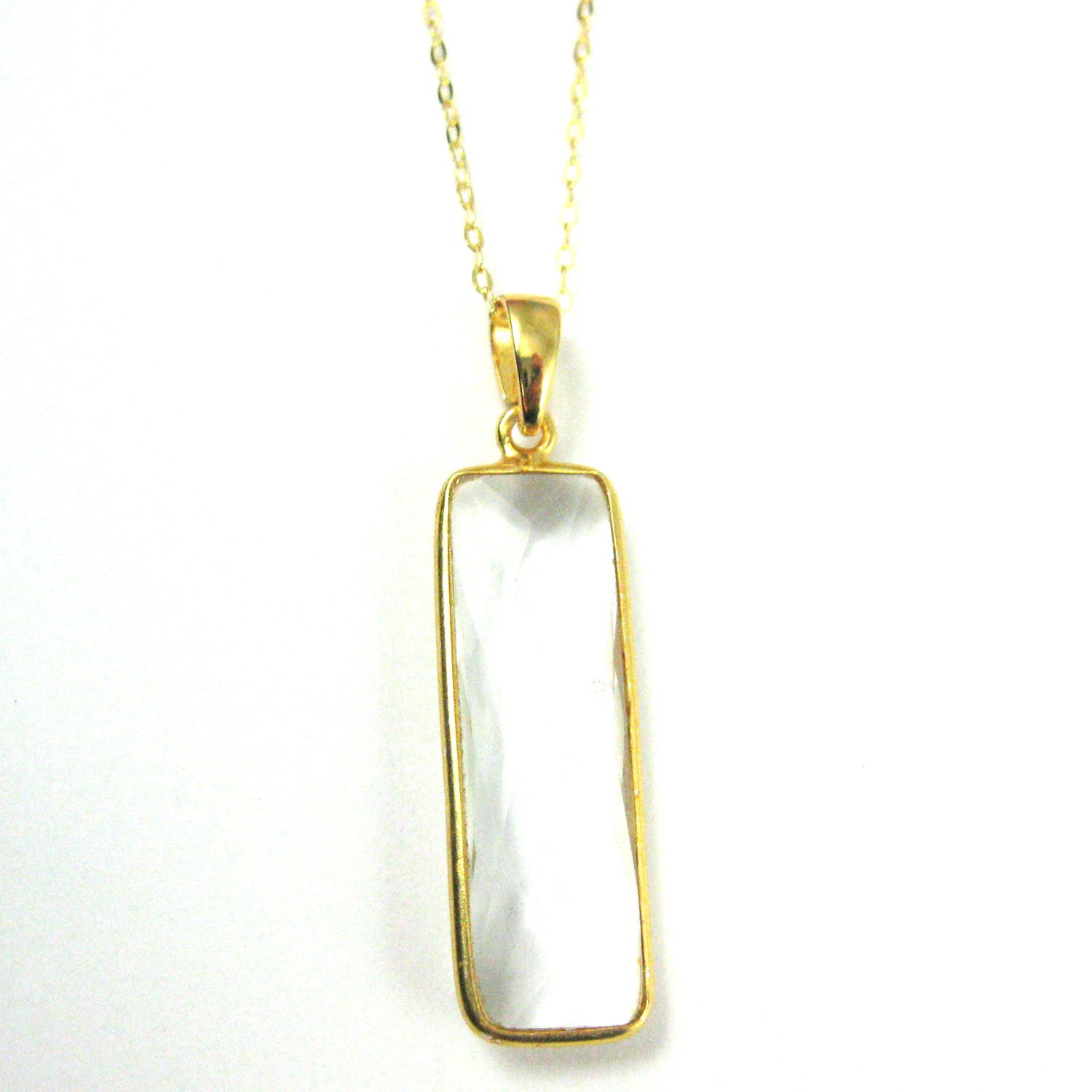 Bezel Gemstone Pendant with Bail - Gold plated Sterling Silver Rectangle Gem Pendant - Ready for Necklace - 40mm - Crytsal Quartz