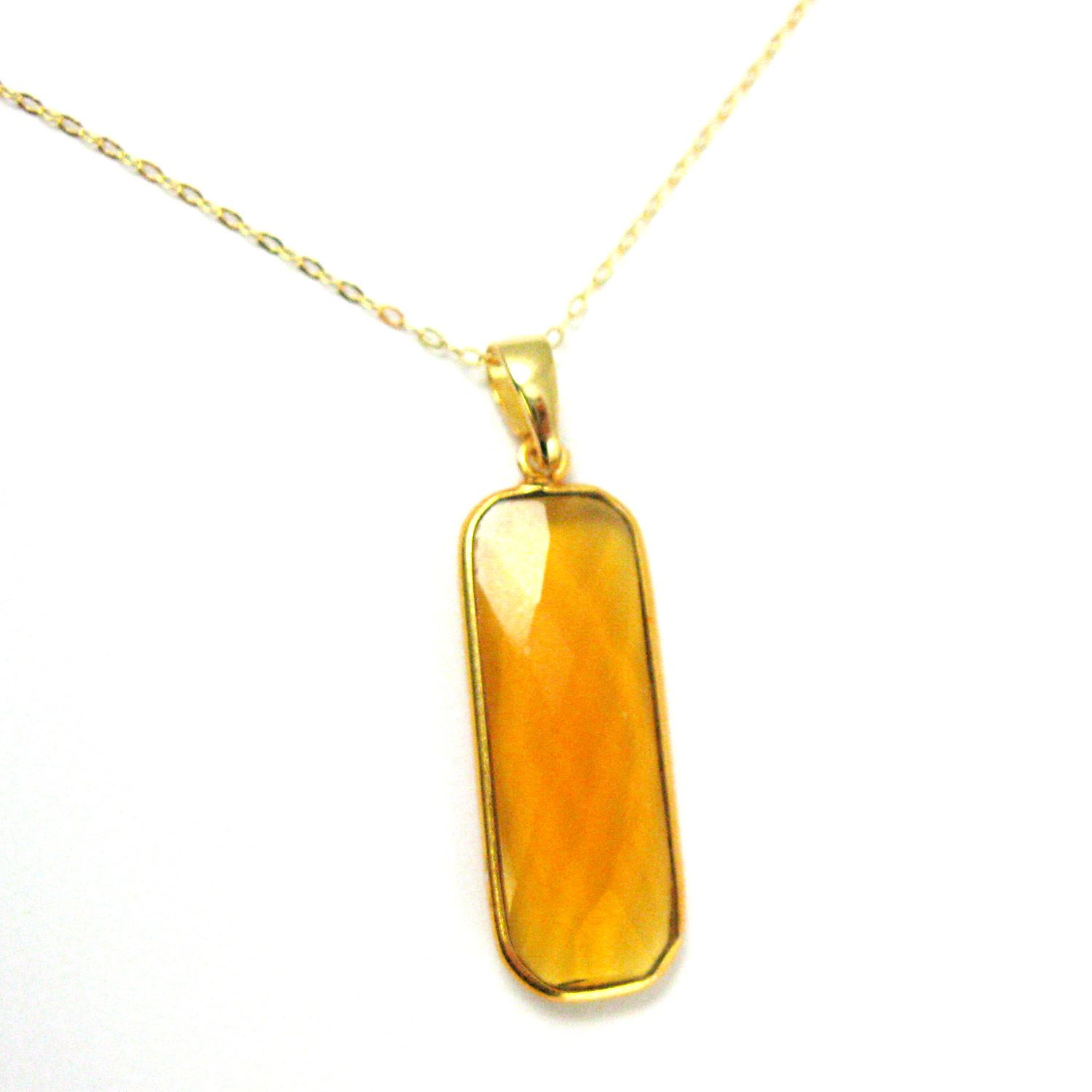 Bezel Gemstone Pendant with Bail - Gold plated Sterling Silver Rectangle Gem Pendant - Ready for Necklace - 40mm - Citrine Quartz