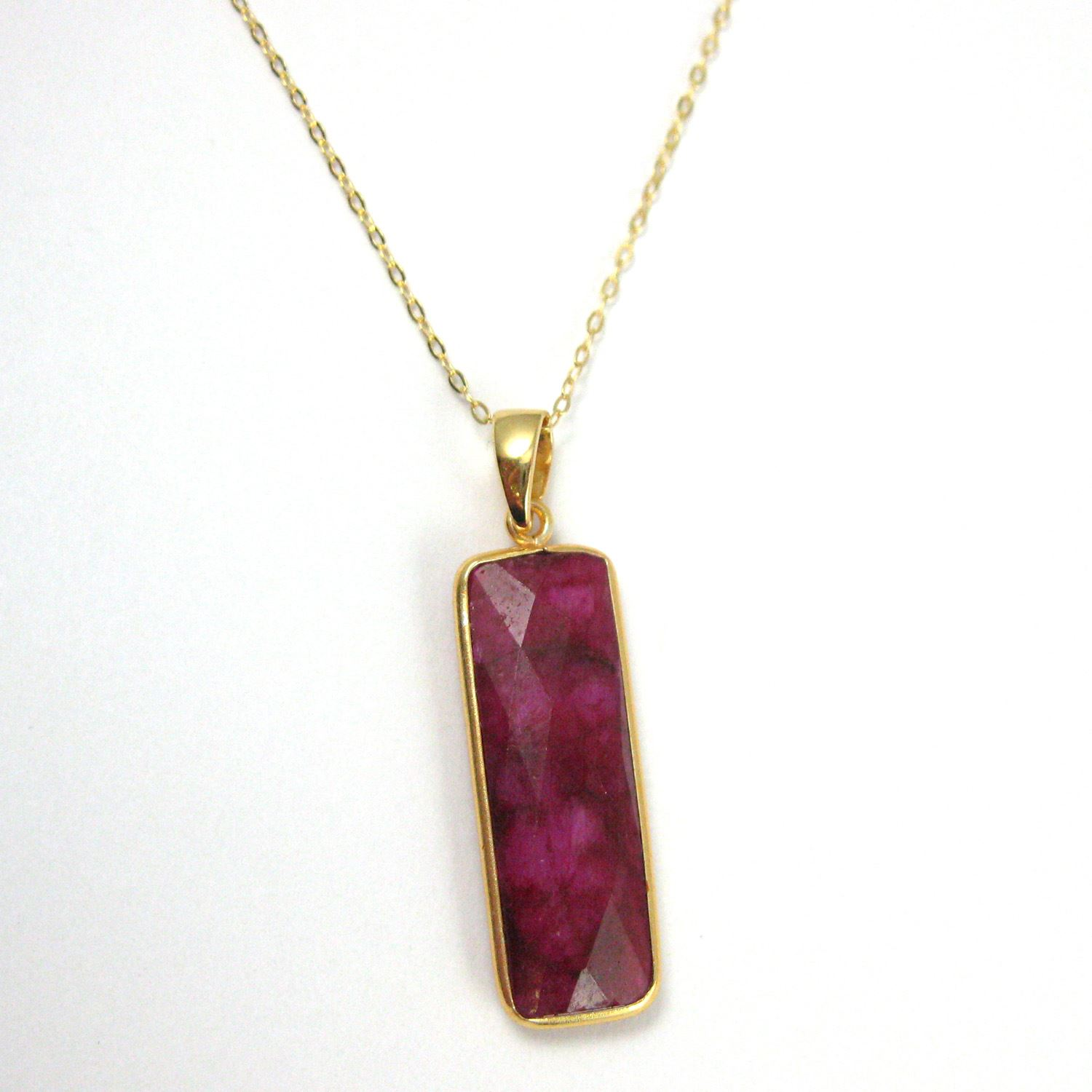Bezel Gemstone Pendant with Bail - Gold plated Sterling Silver Rectangle Gem Pendant - Ready for Necklace - 40mm - Ruby Dyed