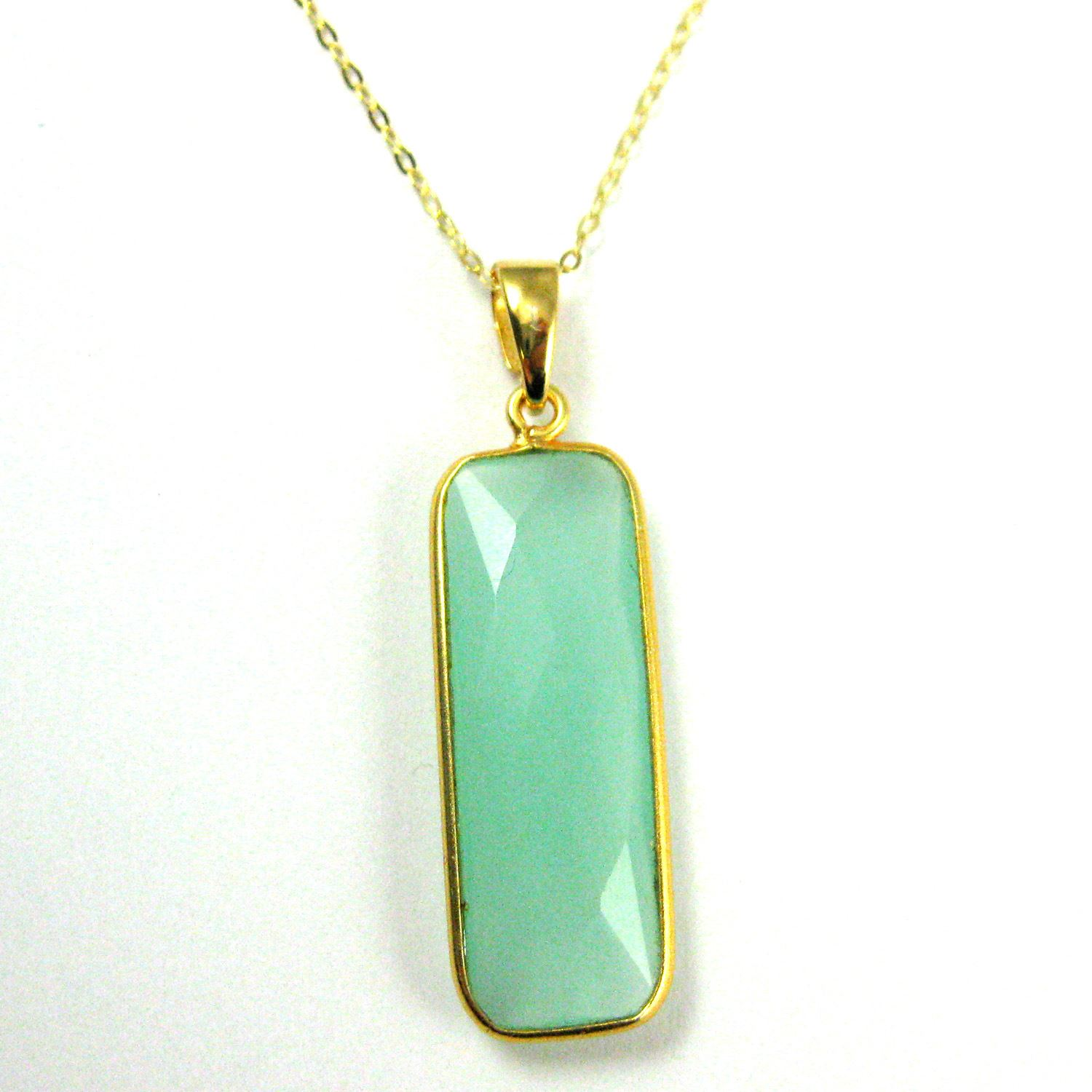 Bezel Gemstone Pendant with Bail - Gold plated Sterling Silver Rectangle Gem Pendant - Ready for Necklace - 40mm - Peru Chalcedony