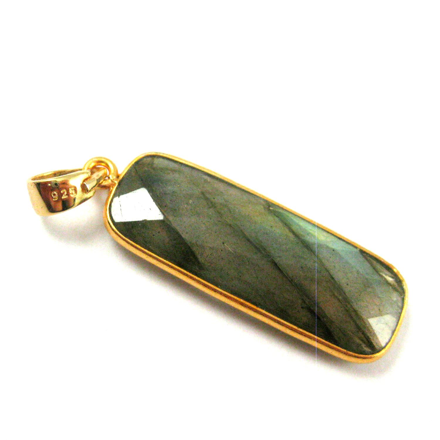 Bezel Gemstone Pendant with Bail - Gold plated Sterling Silver Rectangle Gem Pendant - Ready for Necklace - 40mm - Labradorite