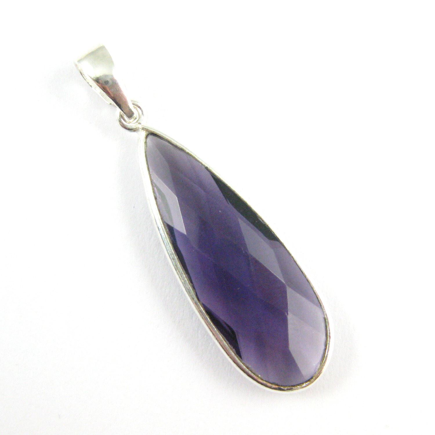 Bezel Gemstone Pendant with Bail - Sterling Silver Elongated Teardrpo Gem Pendant - Ready for Necklace - 40mm - Amethyst Quartz