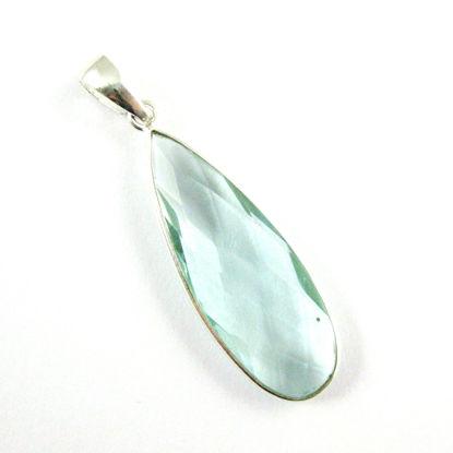 Bezel Gemstone Pendant with Bail - Sterling Silver Elongated Teardrpo Gem Pendant - Ready for Necklace - 40mm - Aqua Quartz