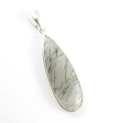 Bezel Gemstone Pendant with Bail - Sterling Silver Elongated Teardrpo Gem Pendant - Ready for Necklace - 40mm - Black Rutilated Quartz
