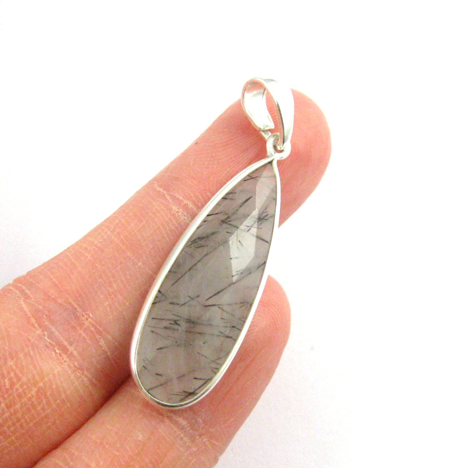 Bezel Gemstone Pendant with Bail - Sterling Silver Elongated Teardrpo Gem Pendant - Ready for Necklace - 40mm - Black Rutilated Quartz