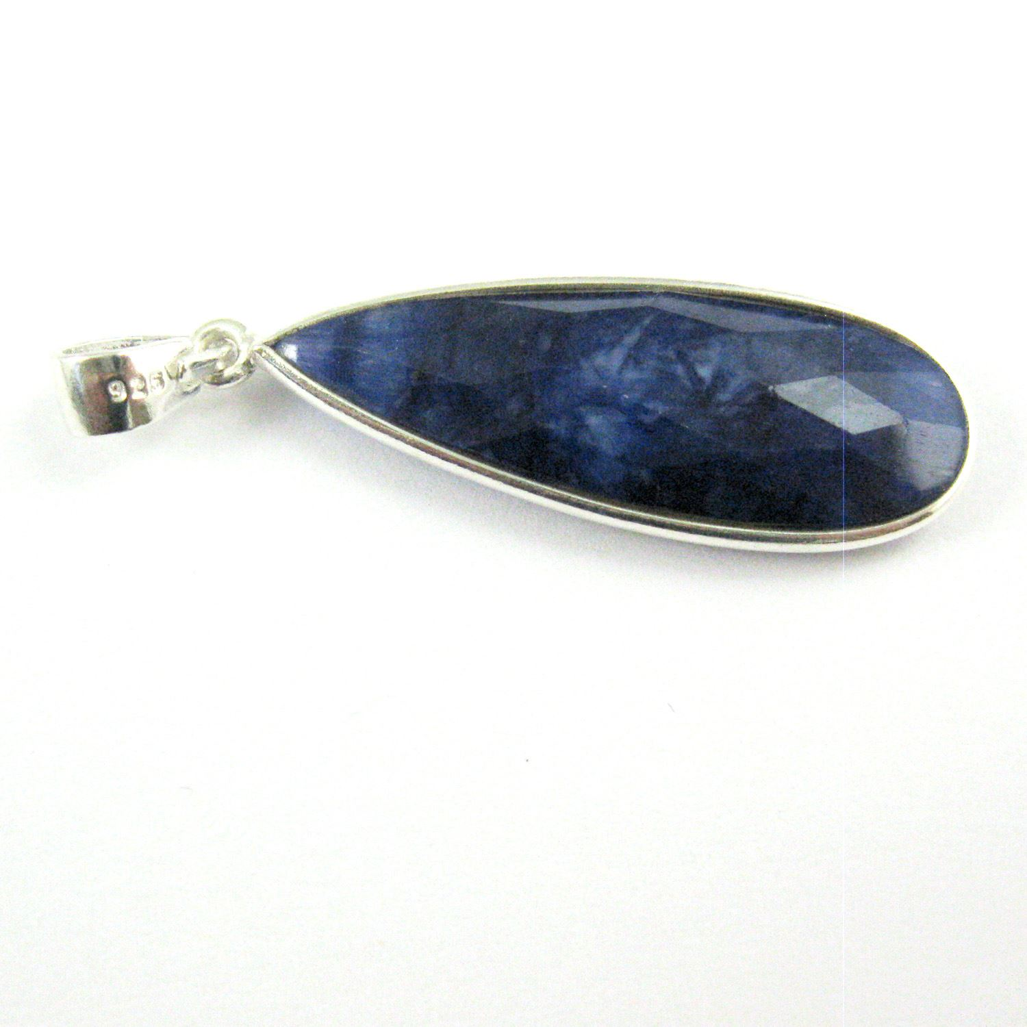 Bezel Gemstone Pendant with Bail - Sterling Silver Elongated Teardrpo Gem Pendant - Ready for Necklace - 40mm - Blue Sapphire Dyed