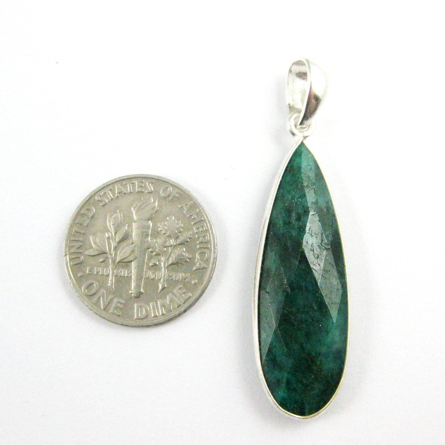 Bezel Gemstone Pendant with Bail - Sterling Silver Elongated Teardrpo Gem Pendant - Ready for Necklace - 40mm -Emerald Dyed