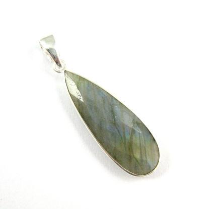 Bezel Gemstone Pendant with Bail - Sterling Silver Elongated Teardrpo Gem Pendant - Ready for Necklace - 40mm - Peru Chalcedony- Labradorite