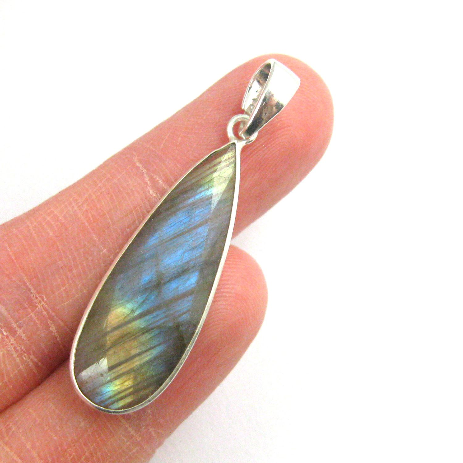 Bezel Gemstone Pendant with Bail - Sterling Silver Elongated Teardrpo Gem Pendant - Ready for Necklace - 40mm - Peru Chalcedony- Labradorite