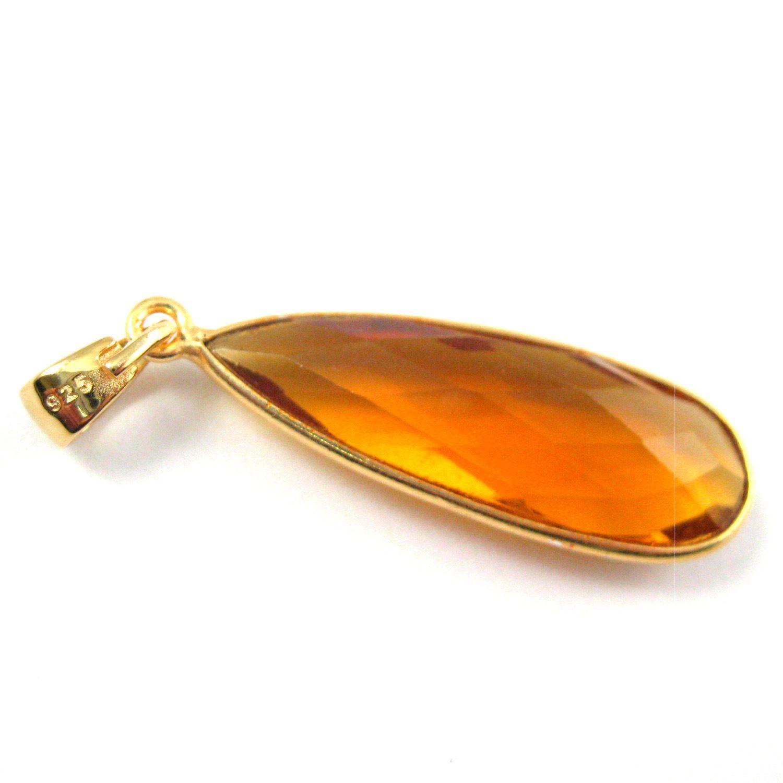 Bezel Gemstone Pendant with Bail - Gold plated Sterling Silver Elongated Teardrpo Gem Pendant - Ready for Necklace - 40mm - Citrine Quartz
