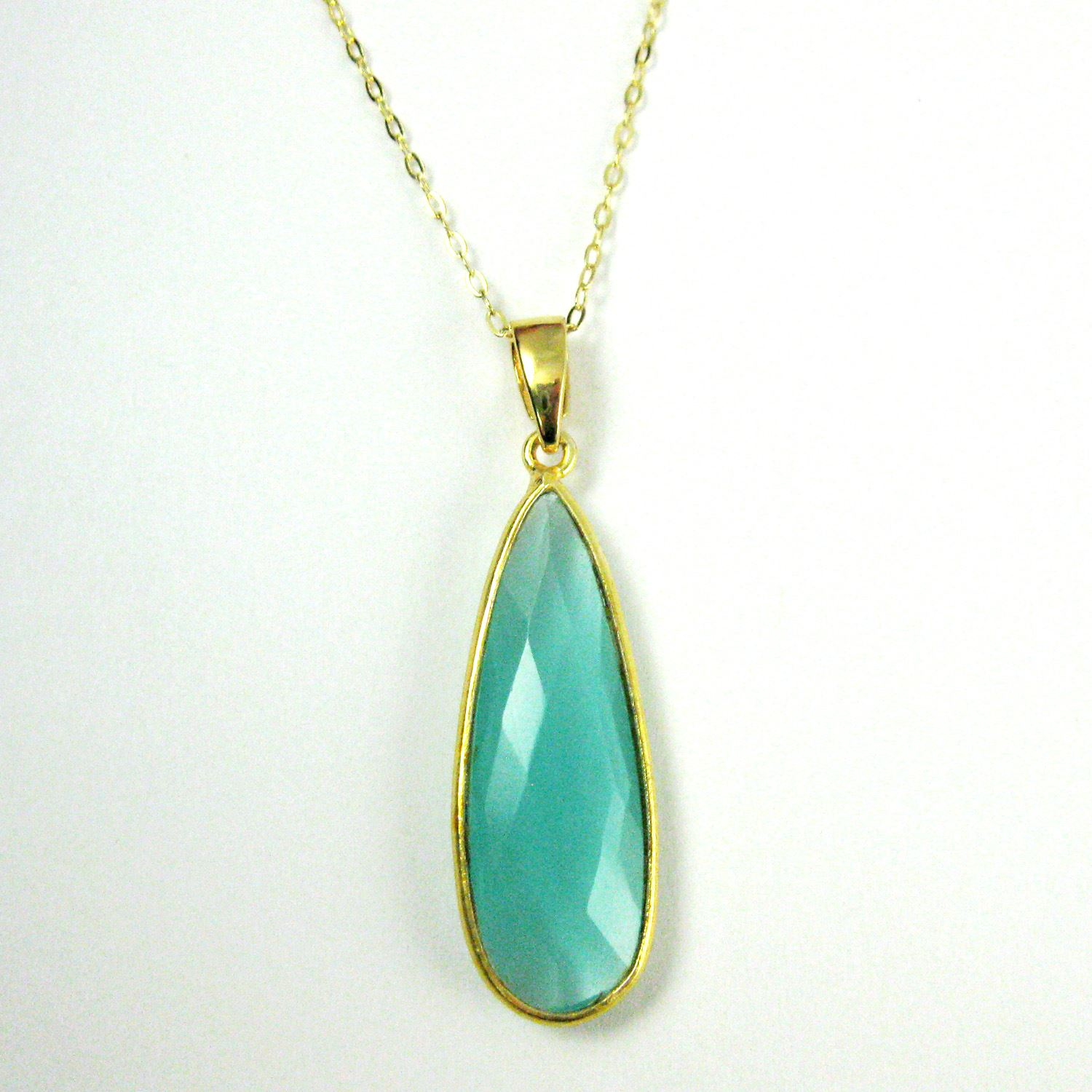 Bezel Gemstone Pendant with Bail - Gold plated Sterling Silver Elongated Teardrpo Gem Pendant - Ready for Necklace - 40mm - Peru Chalcedony