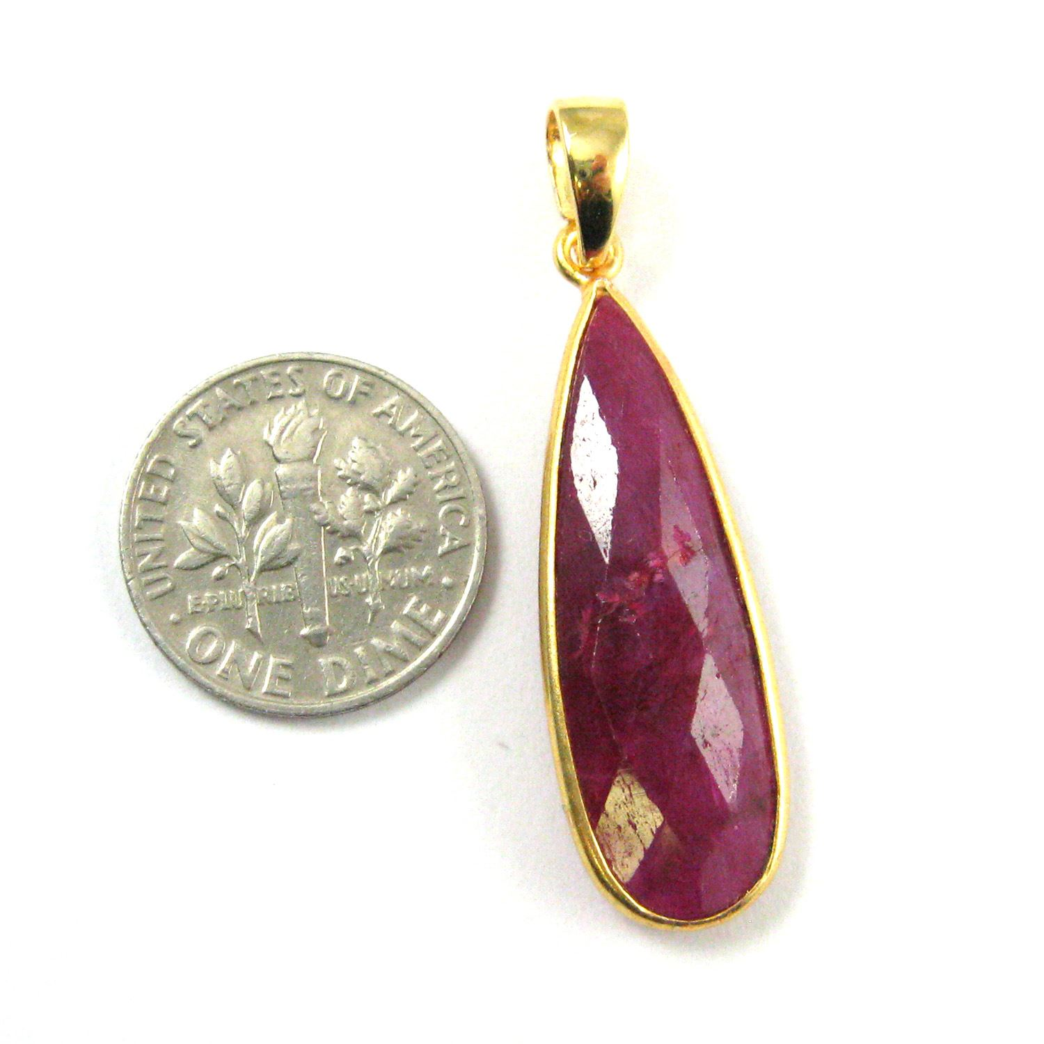 Bezel Gemstone Pendant with Bail - Gold plated Sterling Silver Elongated Teardrpo Gem Pendant - Ready for Necklace - 40mm - Ruby Dyed