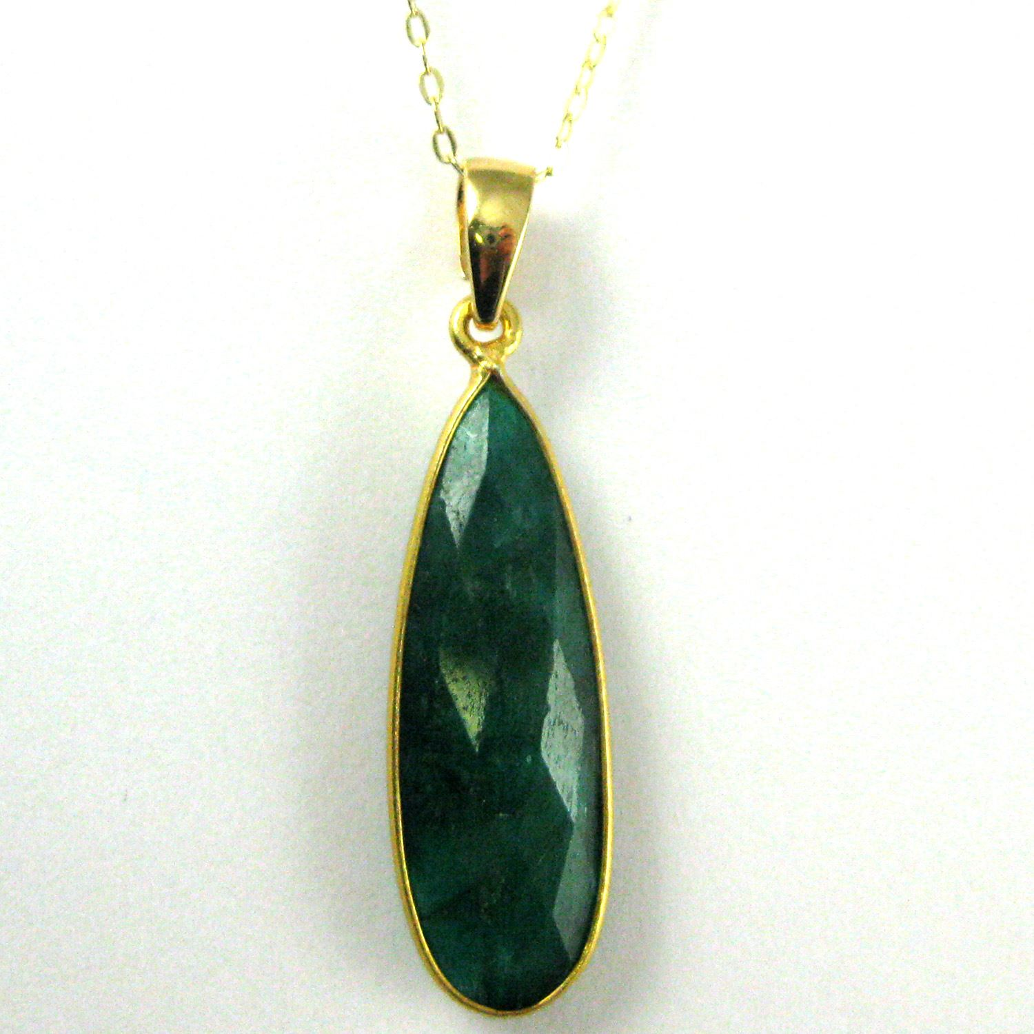 Bezel Gemstone Pendant with Bail - Gold plated Sterling Silver Elongated Teardrpo Gem Pendant - Ready for Necklace - 40mm - Emerald Dyed