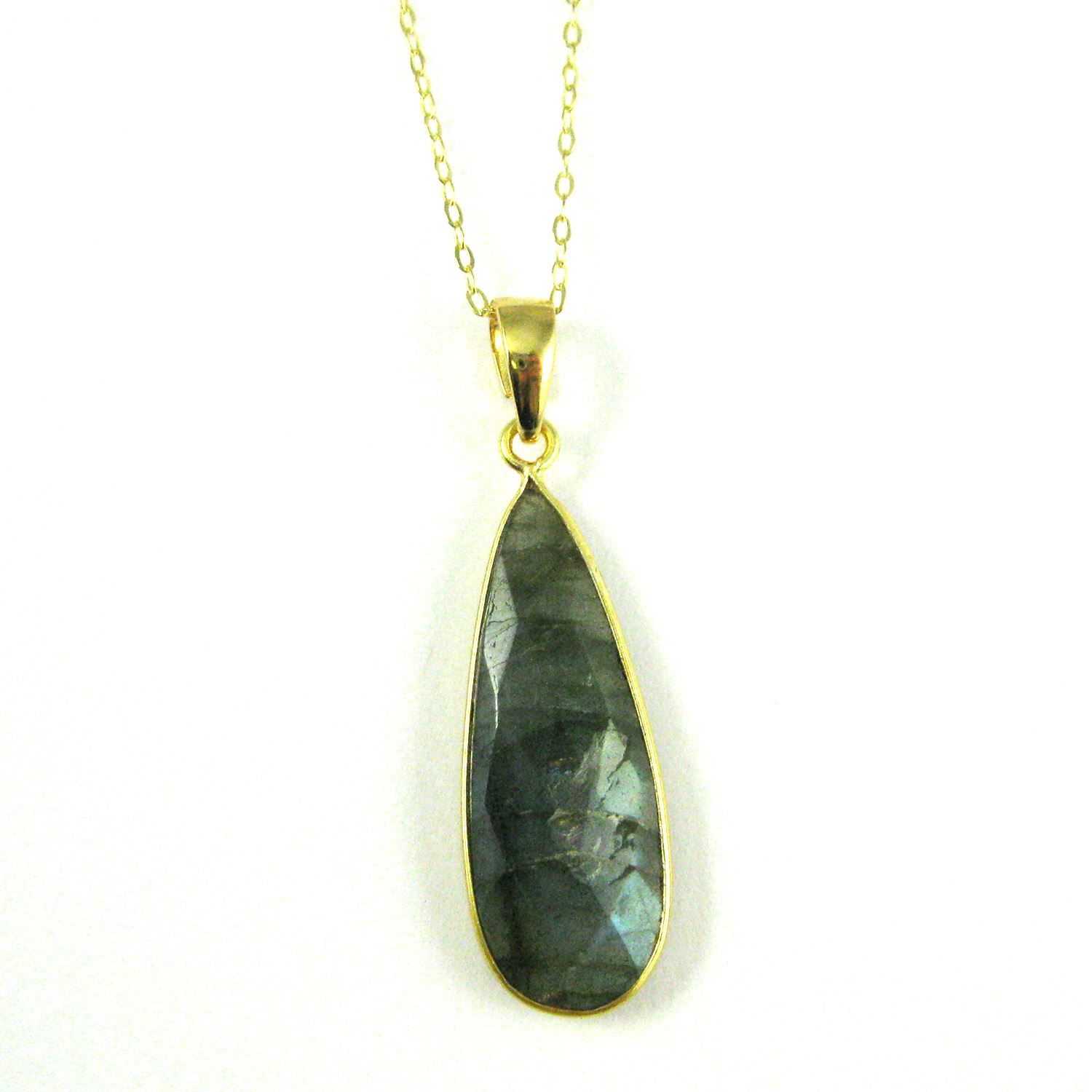 Bezel Gemstone Pendant with Bail - Gold plated Sterling Silver Elongated Teardrpo Gem Pendant - Ready for Necklace - 40mm - Labradorite