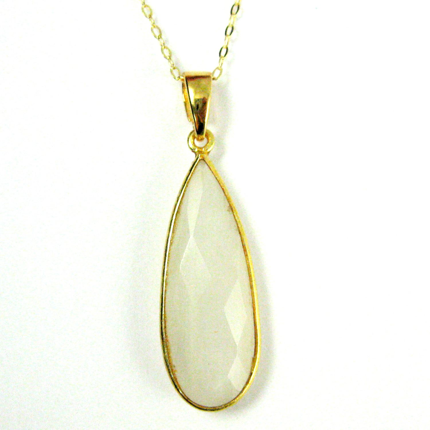 Bezel Gemstone Pendant with Bail - Gold plated Sterling Silver Elongated Teardrpo Gem Pendant - Ready for Necklace - 40mm - Moonstone