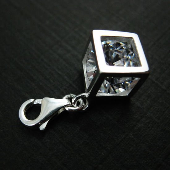 Sterling Silver Bracelet Charm - Charm with Clasp - Add on Charm -  Silver Cubed CZ Cubic Zirconia Stone