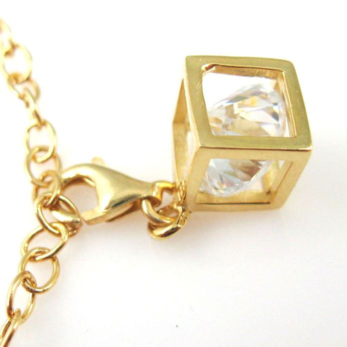 Gold plated Sterling Silver Bracelet Charm - Charm with Clasp - Add on Charm -  Gold Cubed CZ Cubic Zirconia Stone