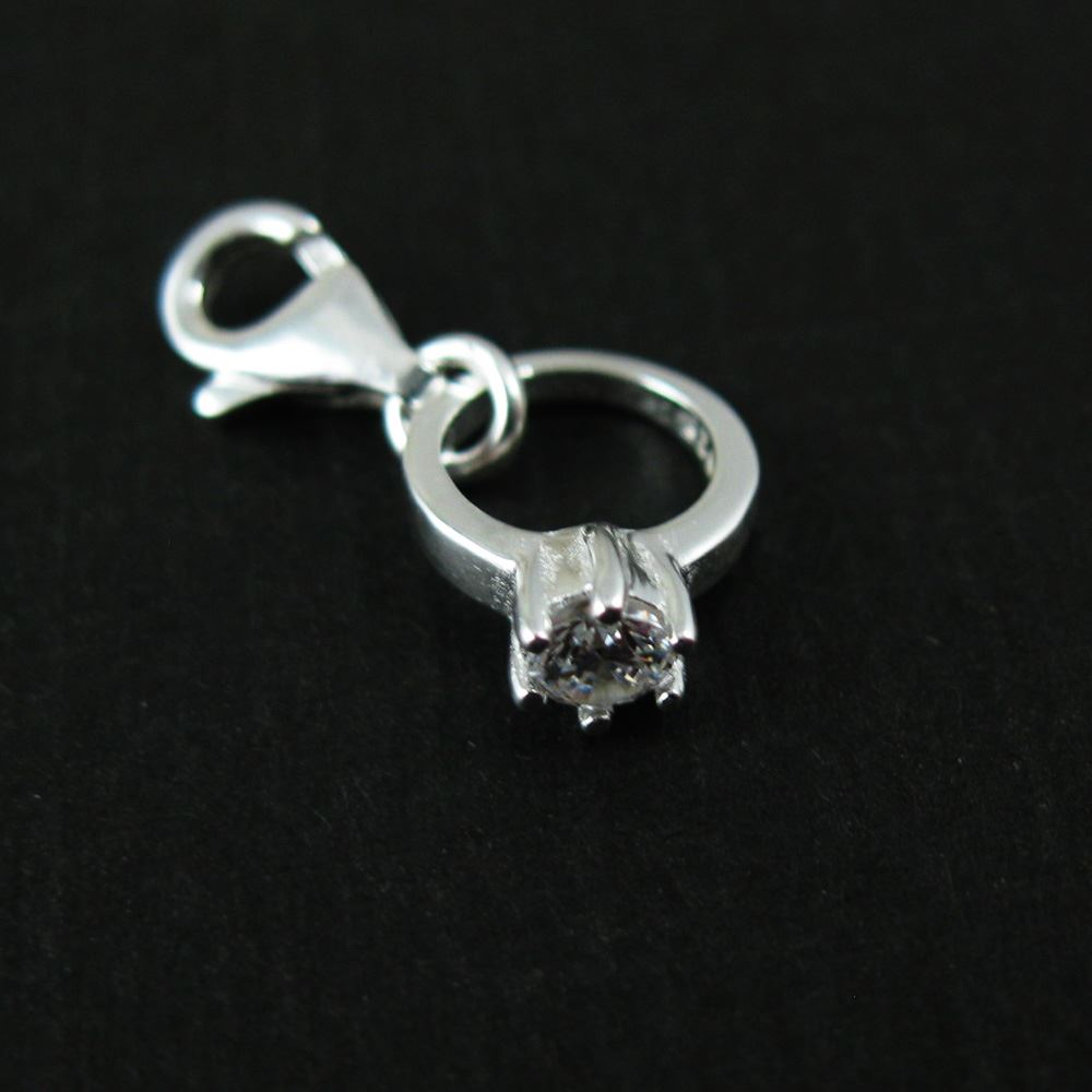 Sterling Silver Bracelet Charm - Charm with Clasp - Add on Charm -  Silver Promise Ring CZ Cubic Zirconia Stone