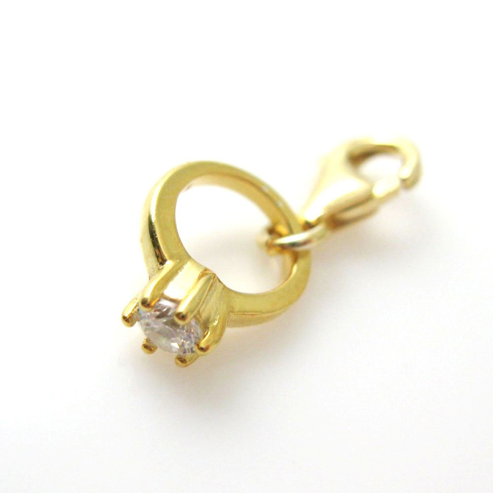 Gold plated Sterling Silver Bracelet Charm - Charm with Clasp - Add on Charm -  Gold Promise Ring CZ Cubic Zirconia Stone