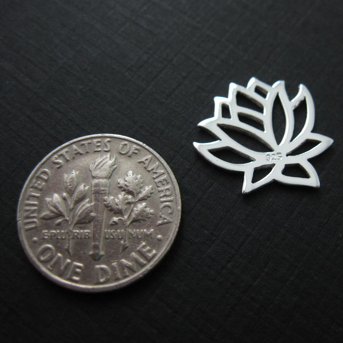 Sterling Silver Lotus Flower Charm - Charm with Clasp - Charm Bracelet Charm- Add on Charm