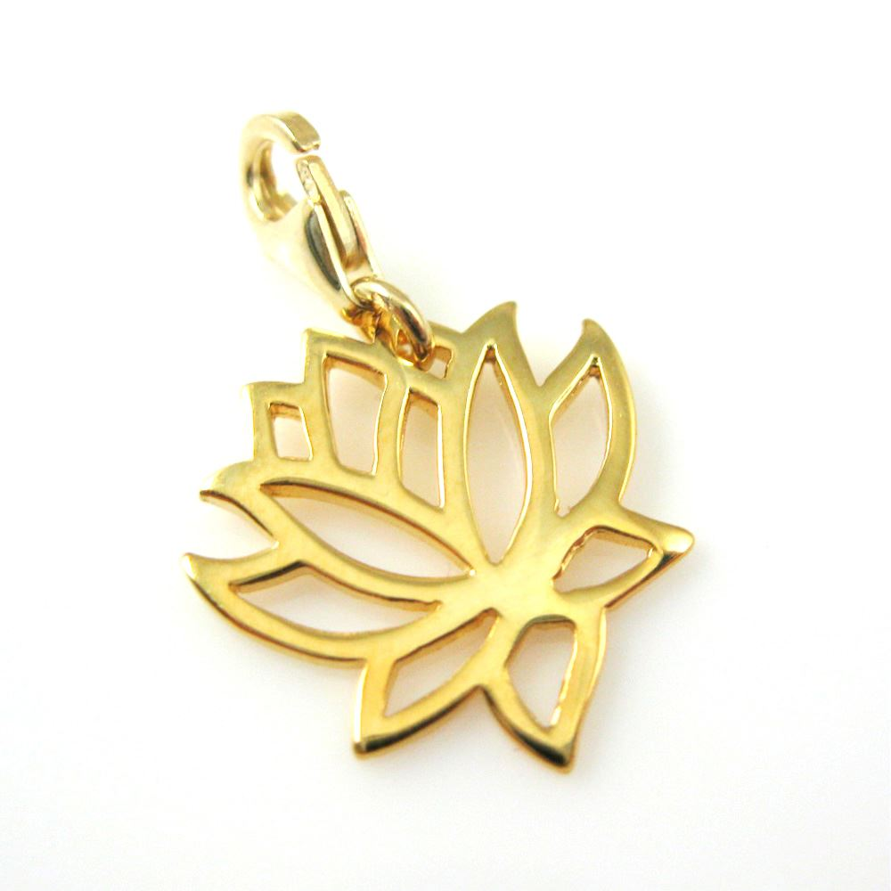 Gold plated Sterling Silver Lotus Flower Charm - Charm with Clasp - Charm Bracelet Charm- Add on Charm