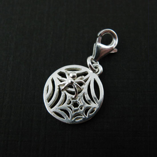 Sterling Silver Spider Web Charm- Charm with Clasp - Charm Bracelet Charm- Add on Charm