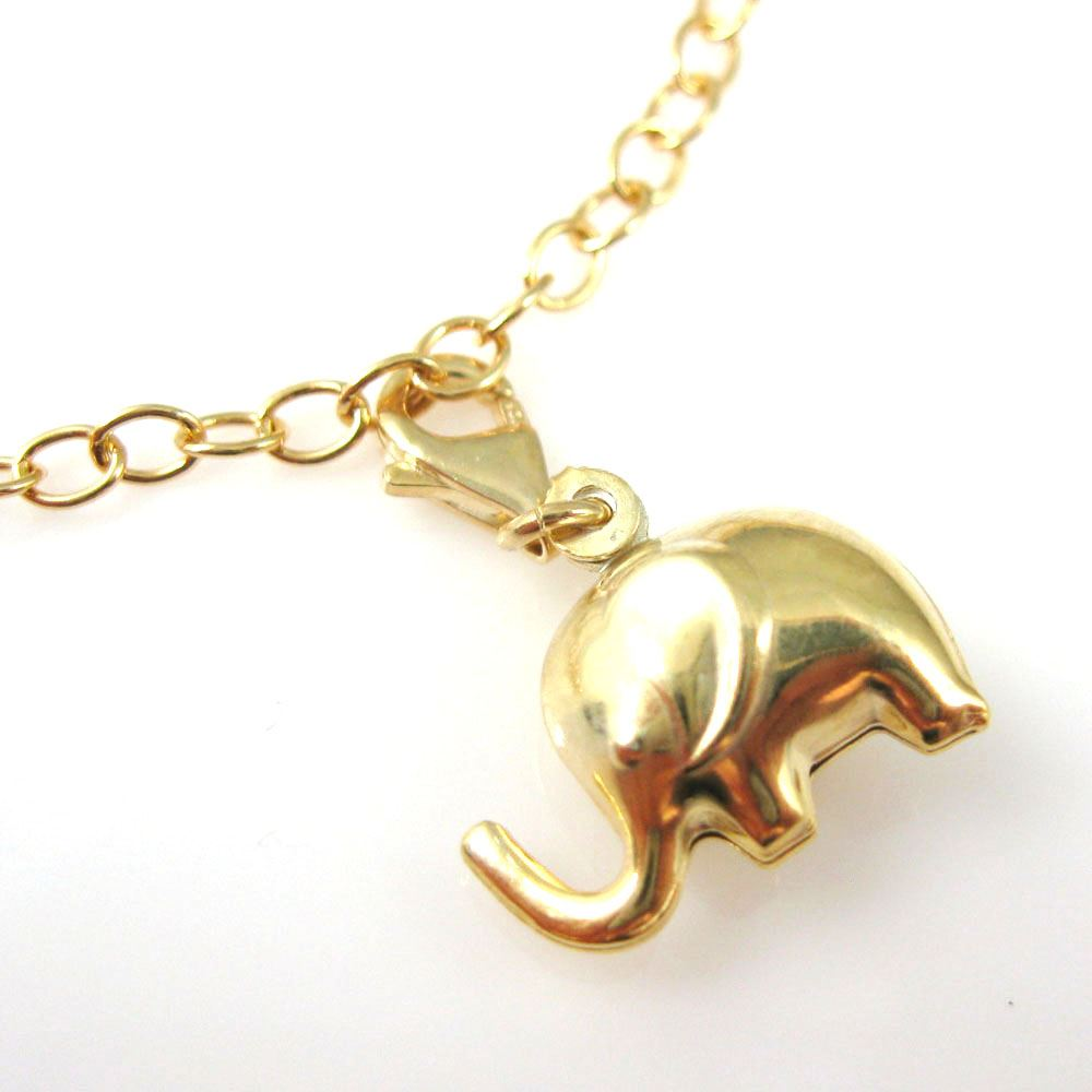 Gold plated Sterling Silver Elephant Charm- Charm with Clasp - Charm Bracelet Charm- Add on Charm