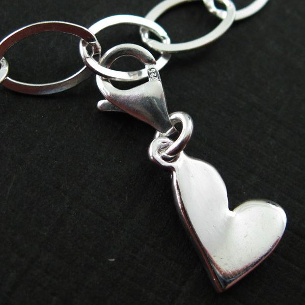 Sterling Silver Tiny Heart Charm - Charm with Clasp - Charm Bracelet Charm- Add on Charm