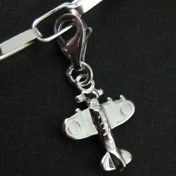 Sterling Silver Airplane Charm - Charm with Clasp - Charm Bracelet Charm- Add on Charm