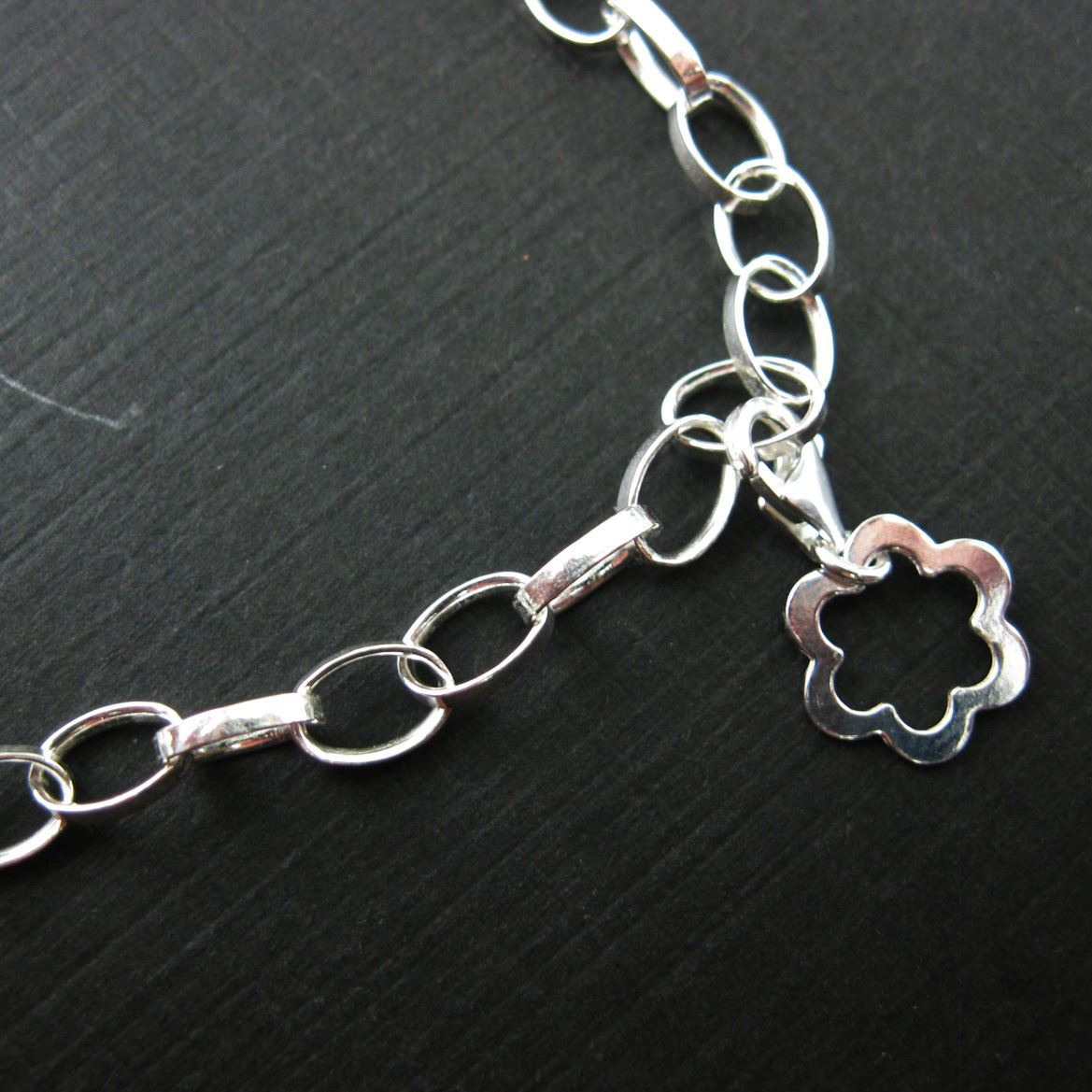 Sterling Silver Lovely Flower Charm - Charm with Clasp - Charm Bracelet Charm- Add on Charm