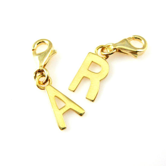Smooth 18K Gold Plated over Sterling Silver Letter Charms - A-Z Letter Pendant- Charm with Clasp - Charm Bracelet Charm- Add on Charm