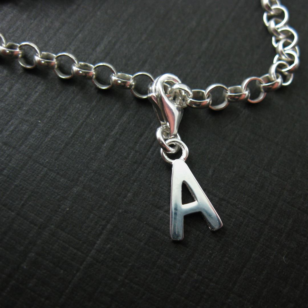 Sterling Silver Letter Charms - A-Z Letter Pendant- Charm with Clasp - Charm Bracelet Charm- Add on Charm